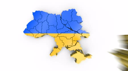 Map of Ukraine with flag, top view. Formed by individual states falling from top to bottom on white background. Animation with alpha channel