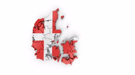 Map of Denmark with flag, top view. Formed by individual states falling from top to bottom on white background. Animation with alpha channel
