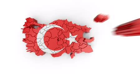 Map of Turkey with flag, top view. Formed by individual states falling from top to bottom on white background. Animation with alpha channel