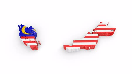 siyasi : Malaysia map with flag. Formed by individual states, falling from top to bottom on white. Animation with alpha channel