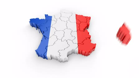 France map with flag. Formed by individual states, falling from top to bottom on white. Animation with alpha channel