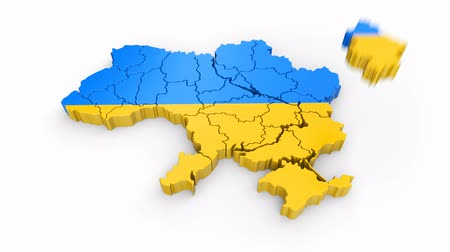 siyasi : Ukraine map with flag. Formed by individual states, falling from top to bottom on white. Animation with alpha channel