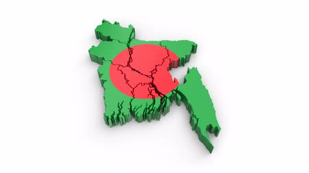 Bangladesh map with flag. Formed by individual states, falling from top to bottom on white. Animation with alpha channel Stock mozgókép