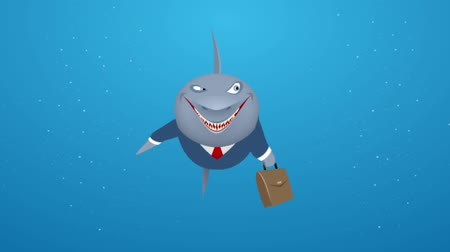 мультфильмы : Video of a business shark in sea Стоковые видеозаписи