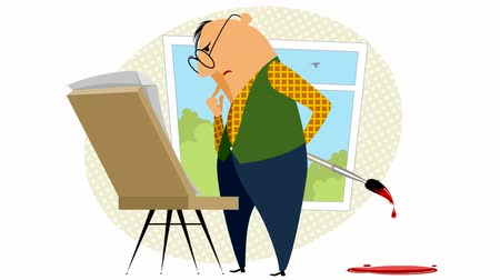 ninhada : Video of the painter with his easel