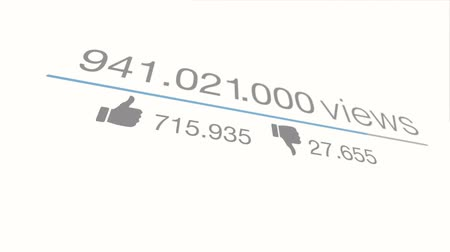 Views counter. A close up quickly increasing to 1 Billion views. Animated Traffic. Version with rotation