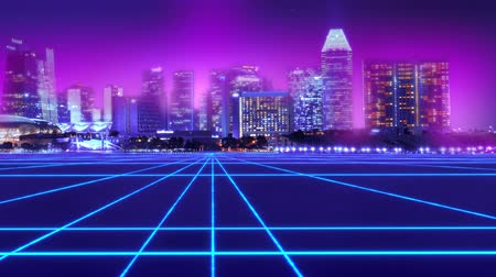 Neon city cyberpunk abstract urban virtual reality.