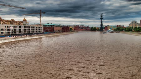 Moscow river timelapse hyperlapse, Moscow, Russia