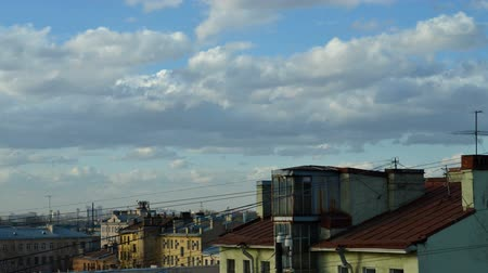 timeline : movement of clouds in the background of the old town Stock Footage