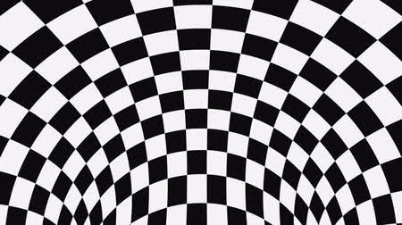 concêntrico : Black and white psychedelic optical illusion. Abstract hypnotic animated background. Checkered geometric looping monochrome wallpaper. Chess modern dynamic backdrop. 3D seamless full HD animation