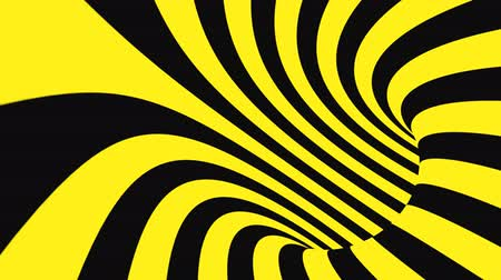 concêntrico : Black and yellow psychedelic optical illusion. Abstract hypnotic animated background. Spiral geometric looping warning wallpaper. Surreal modern safety dynamic backdrop. 3D seamless full HD animation
