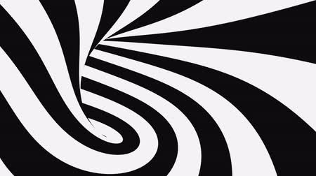 вихревой : Black and white psychedelic optical illusion. Abstract hypnotic animated background. Spiral geometric looping monochrome wallpaper. Surreal modern dynamic backdrop. 3D seamless full HD animation