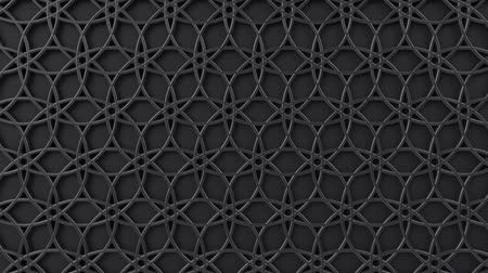 islámský : Arabesque looping geometric pattern. Black and metal islamic 3d motif. Arabic oriental animated background. Muslim moving wallpaper. Asian ornament with circles. Ethnic design element decoration.