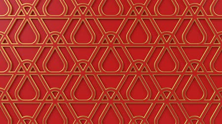 motívum : Arabesque looping geometric pattern. Red and gold islamic 3d motif. Arabic oriental animated background. Muslim moving wallpaper. Asian ornament with triangles. Ethnic design element decoration.