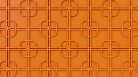 motívum : Arabesque looping geometric pattern. Orange islamic 3d motif. Arabic oriental animated background. Muslim moving wallpaper. Asian ornament with squares. Ethnic design element decoration.