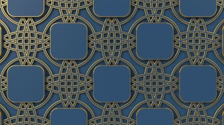 motívum : Arabesque looping geometric pattern. Gold and blue islamic 3d motif. Arabic oriental animated background. Muslim moving wallpaper. Asian ornament with circles. Ethnic design element decoration.