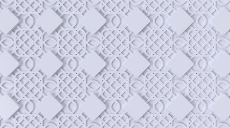 motívum : Arabesque looping geometric pattern. White islamic 3d motif. Arabic oriental animated background. Muslim moving wallpaper. Asian ornament with squares. Ethnic design element decoration.