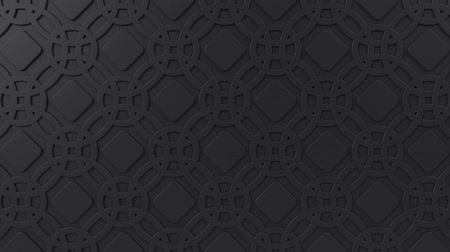 марокканский : Arabesque looping geometric pattern. Black islamic 3d motif. Arabic oriental animated background. Muslim moving wallpaper. Asian ornament with circles. Ethnic design element decoration.