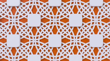 motívum : Arabesque looping geometric pattern. Orange and white islamic 3d motif. Arabic oriental animated background. Muslim moving wallpaper. Asian ornament with circles. Ethnic design element decoration. Stock mozgókép