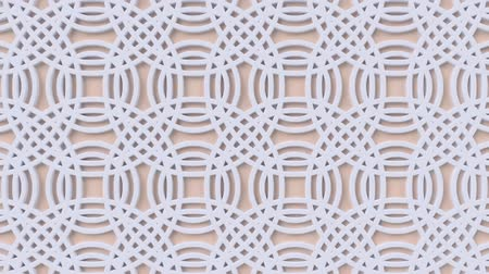 motívum : Arabesque looping geometric pattern. Beige and white islamic 3d motif. Arabic oriental animated background. Muslim moving wallpaper. Asian ornament with circles. Ethnic design element decoration.