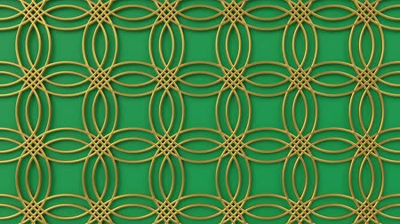 motif : Arabesque looping geometric pattern. Gold and green islamic 3d motif. Arabic oriental animated background. Muslim moving wallpaper. Asian ornament with circles. Ethnic design element decoration. Stock Footage