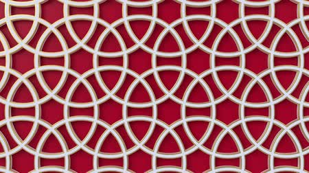 motívum : Arabesque looping geometric pattern. Red and white islamic 3d motif. Arabic oriental animated background. Muslim moving wallpaper. Asian ornament with circles. Ethnic design element decoration.