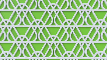 motívum : Arabesque looping geometric pattern. Green and white islamic 3d motif. Arabic oriental animated background. Muslim moving wallpaper. Asian ornament with triangles. Ethnic design element decoration. Stock mozgókép