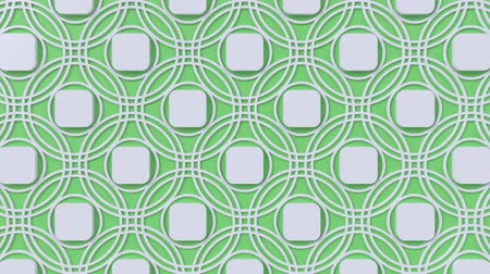 concêntrico : Arabesque looping geometric pattern. Green and white islamic 3d motif. Arabic oriental animated background. Muslim moving wallpaper. Asian ornament with circles. Ethnic design element decoration.