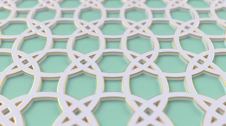 motif : Arabesque looping geometric pattern. Green and white islamic 3d motif. Arabic oriental animated background. Muslim moving wallpaper. Asian ornament with circles. Ethnic design element decoration.