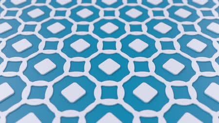 motívum : Arabesque looping geometric pattern. Blue and white islamic 3d motif. Arabic oriental animated background. Muslim moving wallpaper. Asian ornament with circles. Ethnic design element decoration.