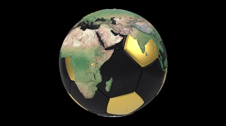 world cup : Realistic soccer ball isolated on black screen. 3d seamless looping animation. Detailed world map on black and gold soccer ball. Concept football earth globe. Sport design element.