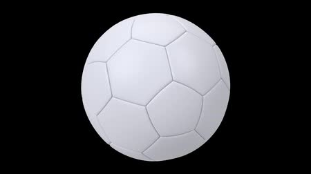 world cup : Realistic white soccer ball isolated on black background. 3d looping animation. Football design element.