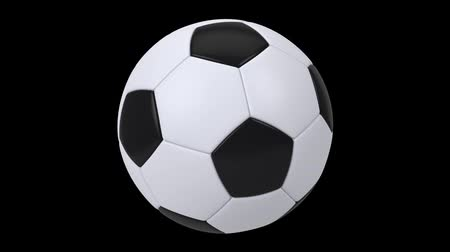 world cup : Realistic black and white soccer ball isolated on black background. 3d looping animation. Football design element. Stock Footage