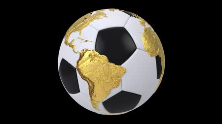 futebol : Realistic soccer ball isolated on black screen. 3d seamless looping animation. Detailed gold world map on black and white soccer ball. Concept football earth globe. Sport design element. Vídeos