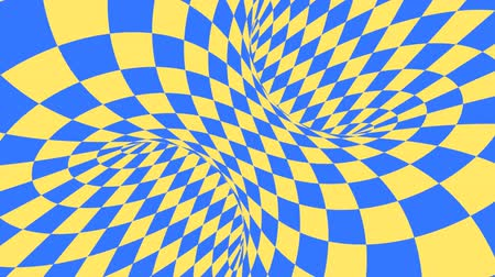 concêntrico : Blue and yellow psychedelic optical illusion. Abstract hypnotic diamond animated background. Geometric looping wallpaper with rhombus shapes. Surreal dynamic backdrop. 3D seamless full HD animation Vídeos