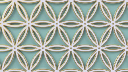 turco : Arabesque looping geometric pattern. Green and white islamic 3d motif. Arabic oriental animated background. Muslim moving wallpaper. Asian ornament with circles. Ethnic design element decoration.
