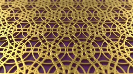 motívum : Arabesque looping geometric pattern. Gold and violet islamic 3d motif. Arabic oriental animated background. Muslim moving wallpaper. Asian ornament with circles. Ethnic design element decoration.