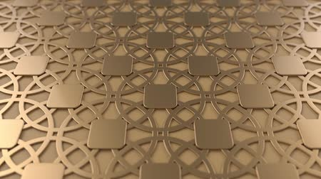 arabesco : Arabesque looping geometric pattern. Metal islamic 3d motif. Arabic oriental animated background. Muslim moving wallpaper. Asian ornament with circles. Ethnic design element decoration.