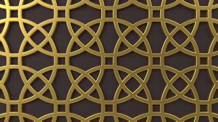 motívum : Arabesque looping geometric pattern. Gold and brown islamic 3d motif. Arabic oriental animated background. Muslim moving wallpaper. Asian ornament with circles. Ethnic design element decoration.
