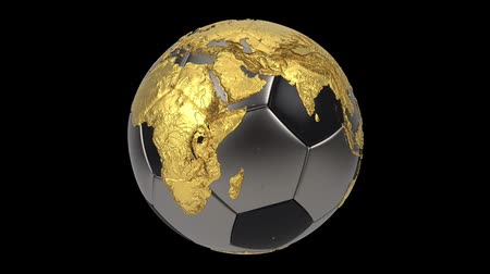 futebol : Realistic soccer ball isolated on black screen. 3d seamless looping animation. Detailed gold world map on black and iron soccer ball. Concept football earth globe. Sport design element.