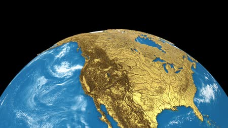 continent : Gold rotating Earth planet isolated on black background. Spinning 3d earth globe seamless looping animation. America, europe, africa, asia, australia on world map.