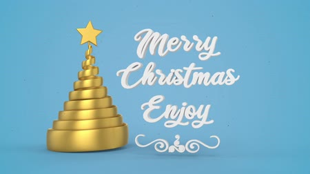 plakat : Merry Christmas and Happy New Year greeting lettering. Winter holiday motion graphic. Decorative animated inscription, christmas gold spiral abstract tree with star on blue background. 3d render