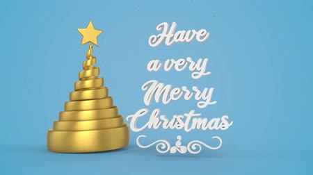 etiquette or : Merry Christmas and Happy New Year greeting lettering. Winter holiday motion graphic. Decorative animated inscription, christmas gold spiral abstract tree with star on blue background. 3d render