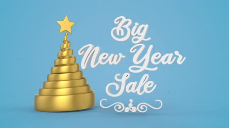 seasonal sale : New Year sale lettering, discount banner. Winter holiday sale. Decorative animated inscription, promotional background. Typographic festive design element. 3d render, motion graphic Stock Footage