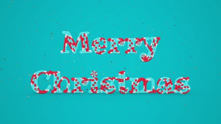 caligráfico : Merry Christmas and Happy New Year greeting lettering. Winter holiday motion graphic. Decorative animated inscription on blue background. Typographic festive design element. 3d render
