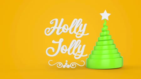 падуб : Merry Christmas and Happy New Year greeting lettering. Winter holiday motion graphic. Decorative animated inscription, christmas green spiral abstract tree with star on yellow background. 3d render Стоковые видеозаписи