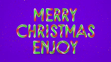 nyomdai : Merry Christmas and Happy New Year greeting lettering. Winter holiday motion graphic. Decorative animated inscription on violet background. Typographic festive design element. 3d render