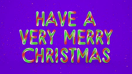 calligraphic : Merry Christmas and Happy New Year greeting lettering. Winter holiday motion graphic. Decorative animated inscription on violet background. Typographic festive design element. 3d render