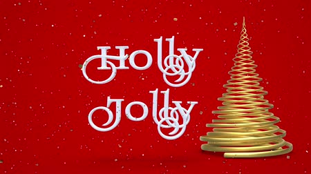 падуб : Merry Christmas and Happy New Year greeting lettering. Winter holiday motion graphic. Decorative animated inscription, christmas gold spiral abstract tree on red background. 3d render