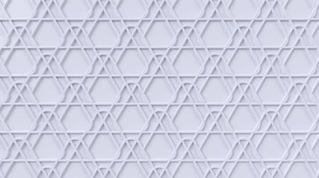 motívum : Arabesque looping geometric pattern. White islamic 3d motif. Arabic oriental animated background. Muslim moving wallpaper. Asian ornament with triangles. Ethnic design element decoration. Stock mozgókép